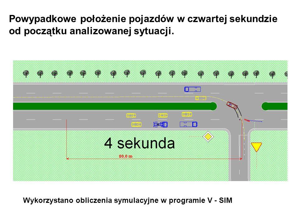 Powypadkowe położenie pojazdów w czwartej sekundzie od początku analizowanej sytuacji. Wykorzystano obliczenia symulacyjne w programie V - SIM