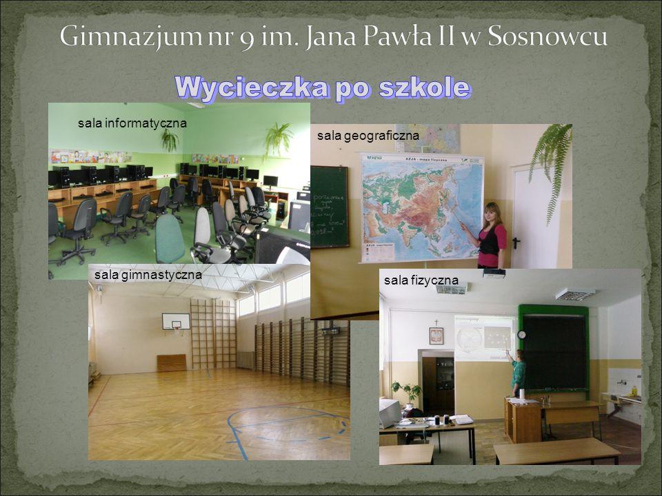 sala informatyczna sala gimnastyczna sala geograficzna sala fizyczna