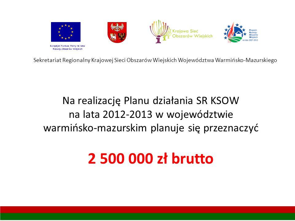 Sekretariat Regionalny Krajowej Sieci Obszarów Wiejskich Województwa Warmińsko-Mazurskiego Europejski Fundusz Rolny na rzecz Rozwoju Obszarów Wiejskich Na realizację Planu działania SR KSOW na lata 2012-2013 w województwie warmińsko-mazurskim planuje się przeznaczyć 2 500 000 zł brutto