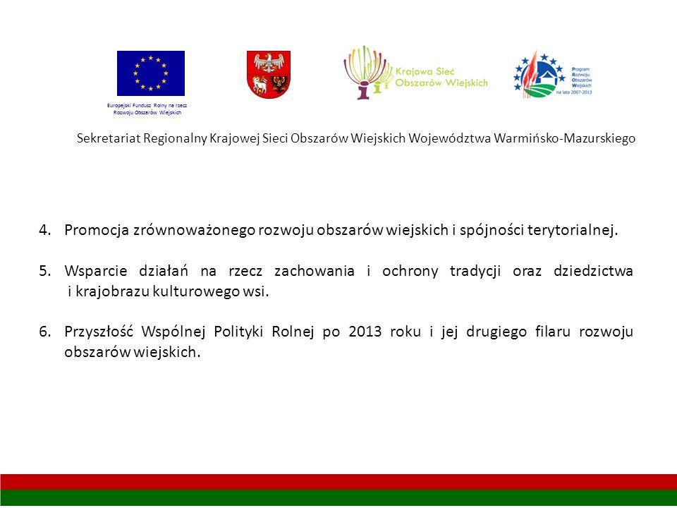 Sekretariat Regionalny Krajowej Sieci Obszarów Wiejskich Województwa Warmińsko-Mazurskiego 4.Promocja zrównoważonego rozwoju obszarów wiejskich i spójności terytorialnej.