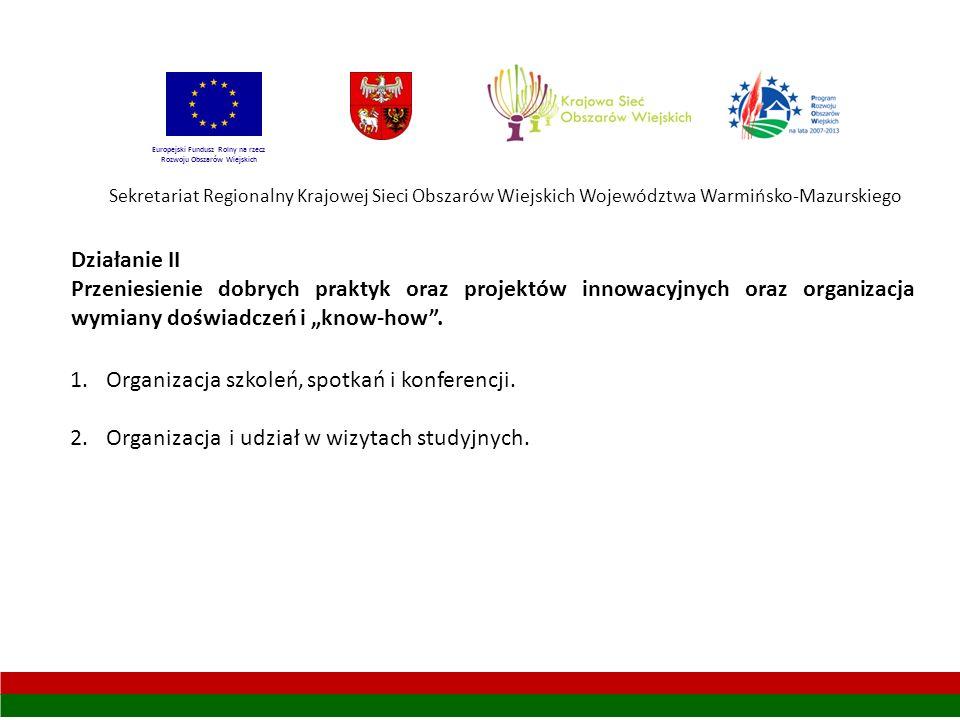 Sekretariat Regionalny Krajowej Sieci Obszarów Wiejskich Województwa Warmińsko-Mazurskiego Europejski Fundusz Rolny na rzecz Rozwoju Obszarów Wiejskich Działanie II Przeniesienie dobrych praktyk oraz projektów innowacyjnych oraz organizacja wymiany doświadczeń i know-how.