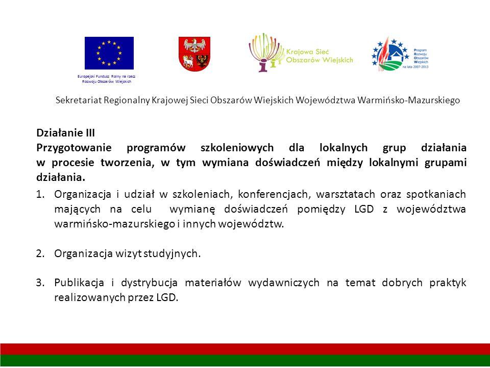 Sekretariat Regionalny Krajowej Sieci Obszarów Wiejskich Województwa Warmińsko-Mazurskiego Europejski Fundusz Rolny na rzecz Rozwoju Obszarów Wiejskich Działanie III Przygotowanie programów szkoleniowych dla lokalnych grup działania w procesie tworzenia, w tym wymiana doświadczeń między lokalnymi grupami działania.