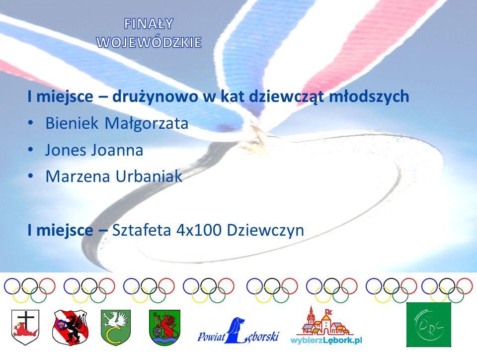 I miejsce – drużynowo w kat dziewcząt młodszych Bieniek Małgorzata Jones Joanna Marzena Urbaniak I miejsce – Sztafeta 4x100 Dziewczyn