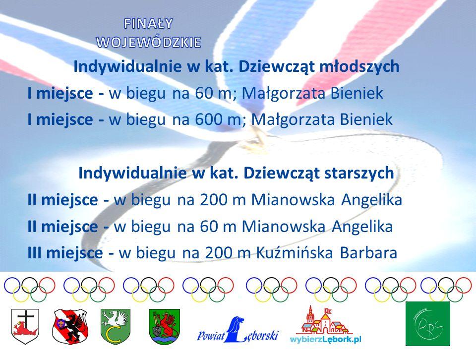 Indywidualnie w kat. Dziewcząt młodszych I miejsce - w biegu na 60 m; Małgorzata Bieniek I miejsce - w biegu na 600 m; Małgorzata Bieniek Indywidualni
