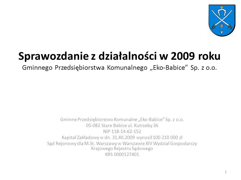 Sprawozdanie z działalności w 2009 roku Gminnego Przedsiębiorstwa Komunalnego Eko-Babice Sp.