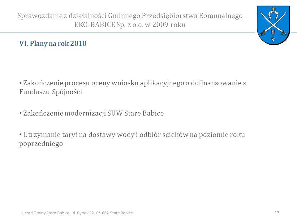 VI. Plany na rok 2010 Zakończenie procesu oceny wniosku aplikacyjnego o dofinansowanie z Funduszu Spójności Zakończenie modernizacji SUW Stare Babice