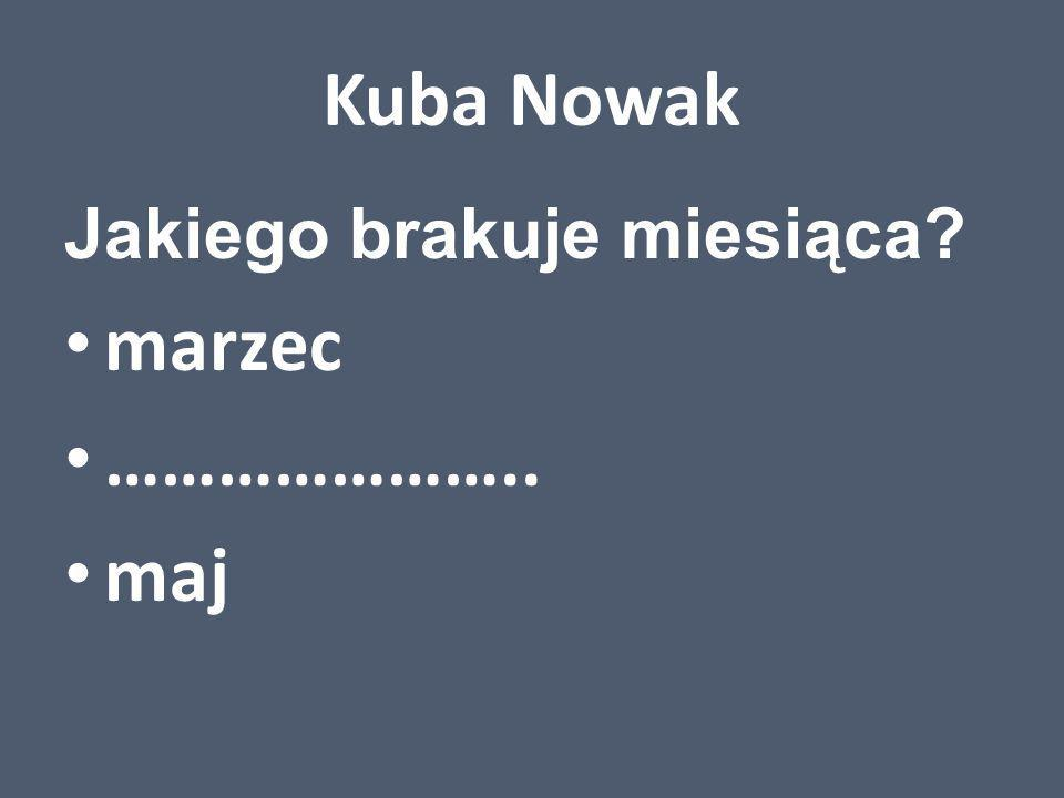Kuba Nowak Jakiego brakuje miesiąca? marzec ………………….. maj