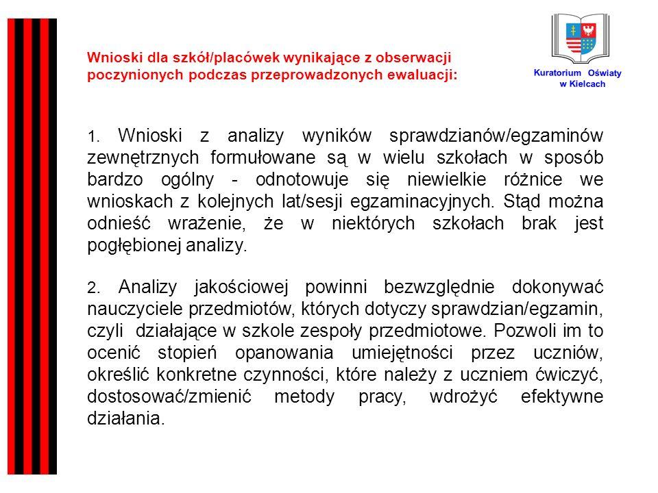 Kuratorium Oświaty w Kielcach Wnioski dla szkół/placówek wynikające z obserwacji poczynionych podczas przeprowadzonych ewaluacji: 1.
