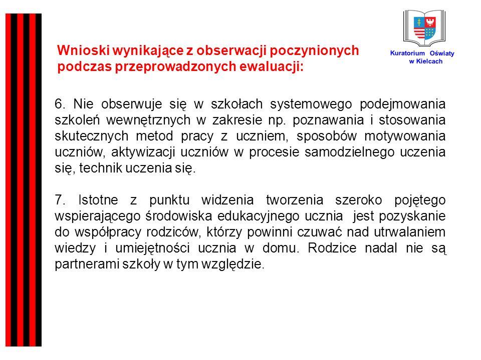 Kuratorium Oświaty w Kielcach Wnioski wynikające z obserwacji poczynionych podczas przeprowadzonych ewaluacji: 6.