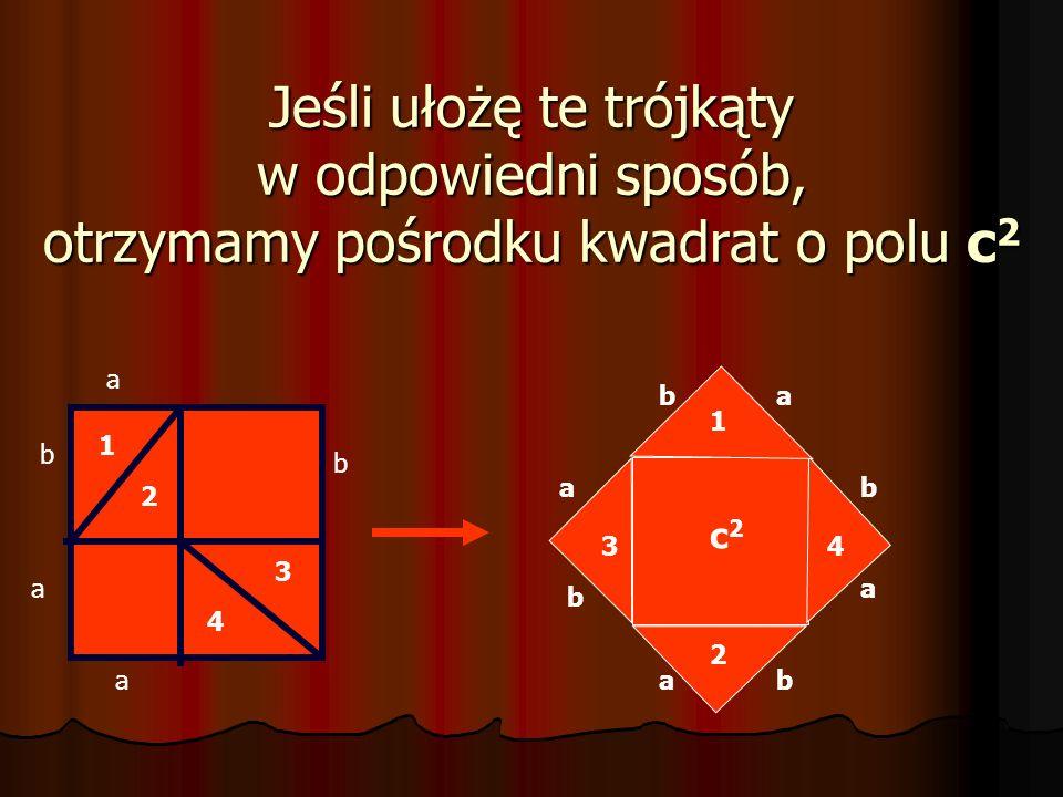 Prostokąty dzielę wzdłuż przekątnej na dwa trójkąty prostokątne. b a a b 1 2 3 4 Powstały 4 przystające trójkąty prostokątne: