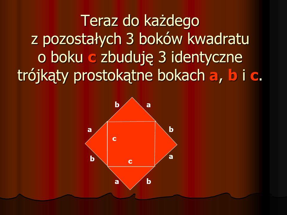 Popatrz na rysunek: ab c c Na przeciwprostokątnej c trójkąta prostokątnego położyłam kwadrat.