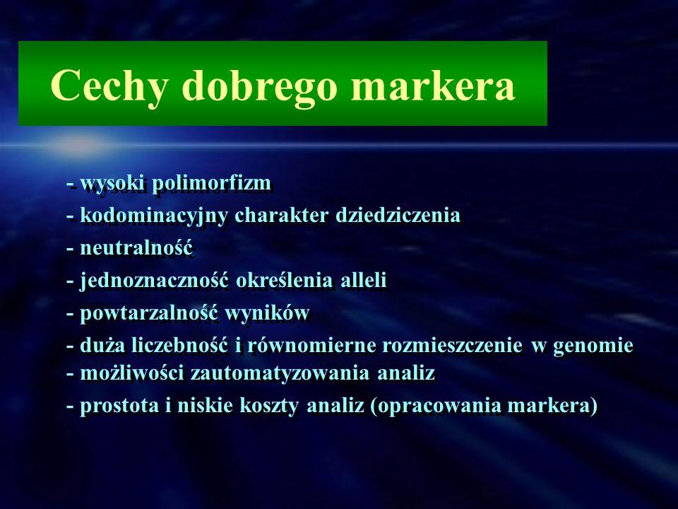 Cechy dobrego markera - wysoki polimorfizm - kodominacyjny charakter dziedziczenia - neutralność - jednoznaczność określenia alleli - powtarzalność wy