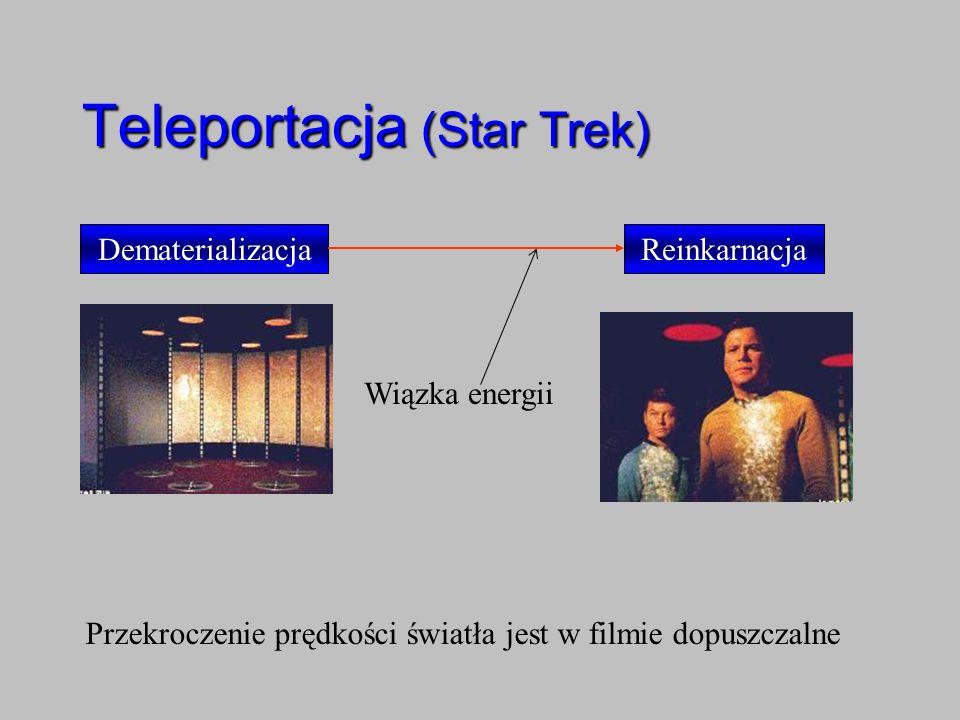 DematerializacjaReinkarnacja Teleportacja (Star Trek) Wiązka energii Przekroczenie prędkości światła jest w filmie dopuszczalne