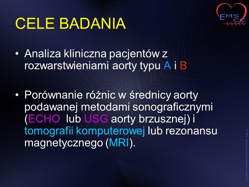 CELE BADANIA Analiza kliniczna pacjentów z rozwarstwieniami aorty typu A i B Porównanie różnic w średnicy aorty podawanej metodami sonograficznymi (EC