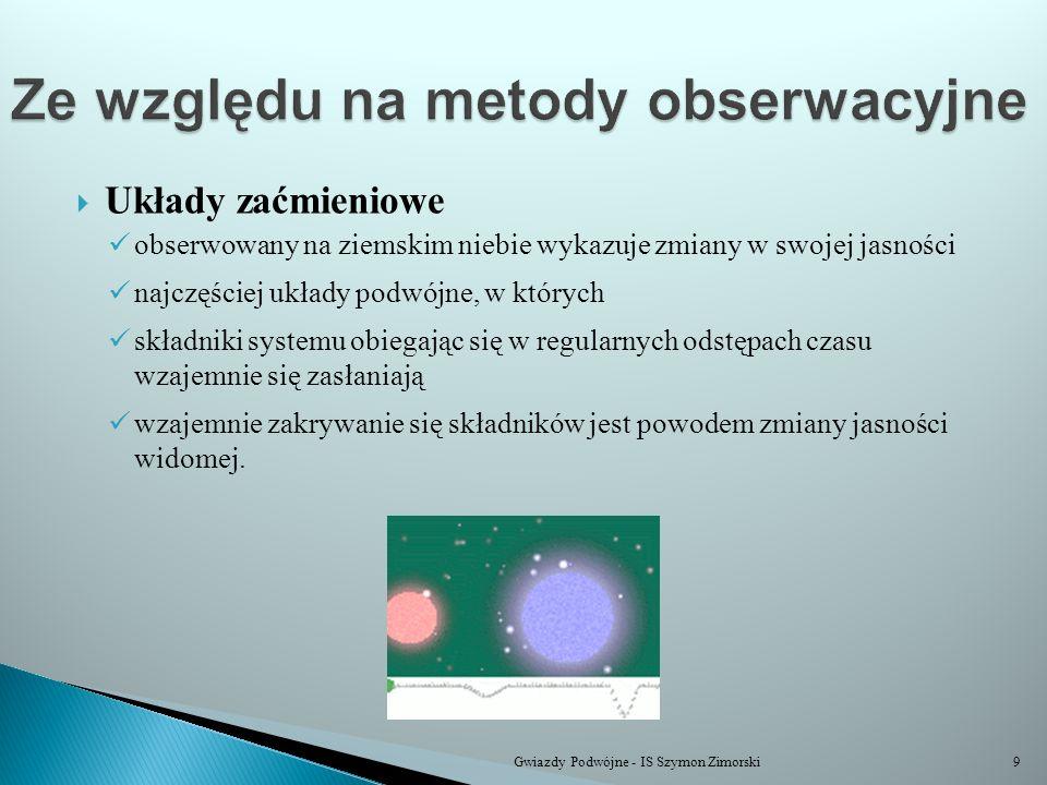 Układy zaćmieniowe obserwowany na ziemskim niebie wykazuje zmiany w swojej jasności najczęściej układy podwójne, w których składniki systemu obiegając