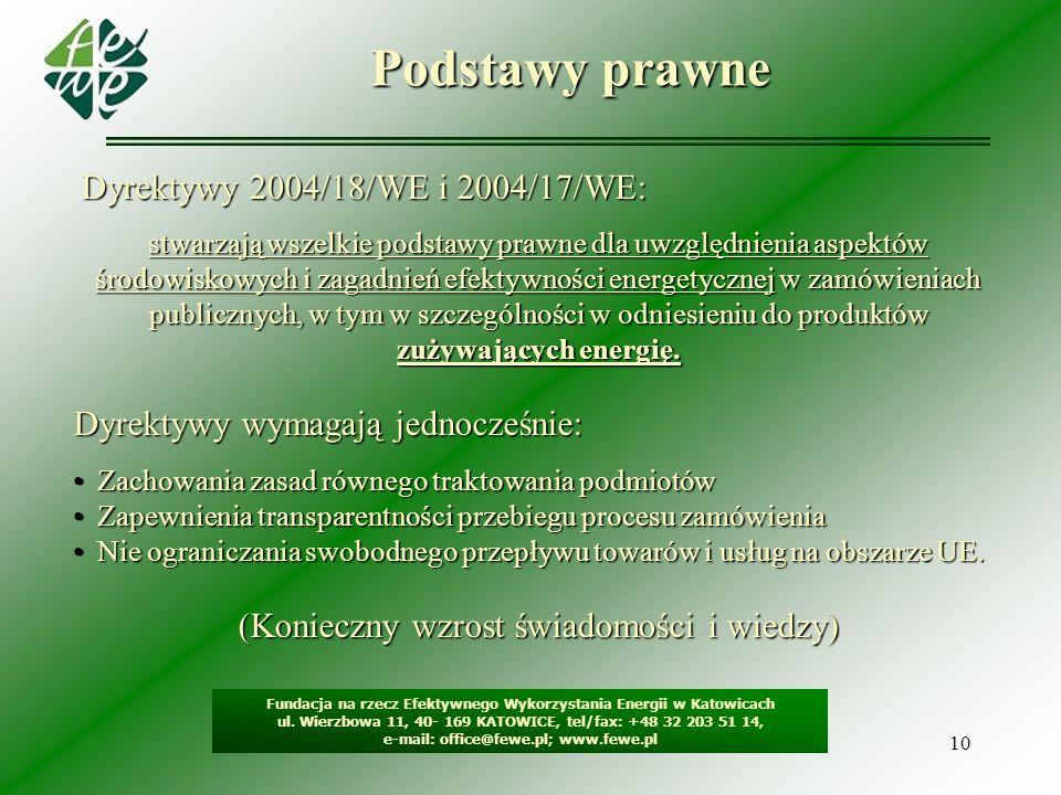 10 Podstawy prawne Fundacja na rzecz Efektywnego Wykorzystania Energii w Katowicach ul. Wierzbowa 11, 40- 169 KATOWICE, tel/fax: +48 32 203 51 14, e-m