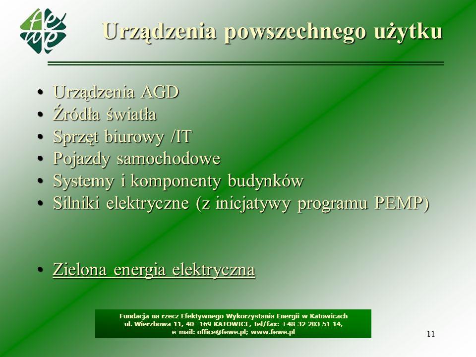 11 Urządzenia powszechnego użytku Fundacja na rzecz Efektywnego Wykorzystania Energii w Katowicach ul. Wierzbowa 11, 40- 169 KATOWICE, tel/fax: +48 32