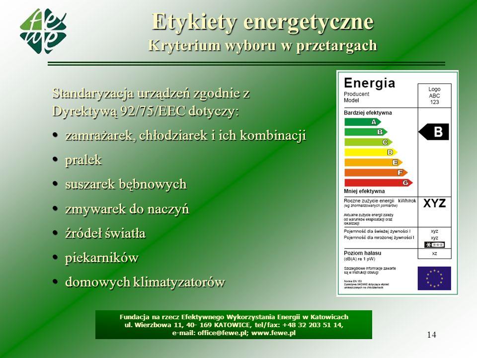 14 Etykiety energetyczne Kryterium wyboru w przetargach Fundacja na rzecz Efektywnego Wykorzystania Energii w Katowicach ul. Wierzbowa 11, 40- 169 KAT