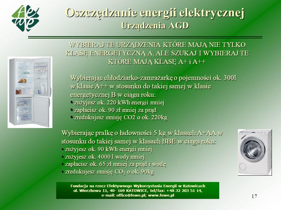 17 Oszczędzanie energii elektrycznej Urządzenia AGD Fundacja na rzecz Efektywnego Wykorzystania Energii w Katowicach ul. Wierzbowa 11, 40- 169 KATOWIC