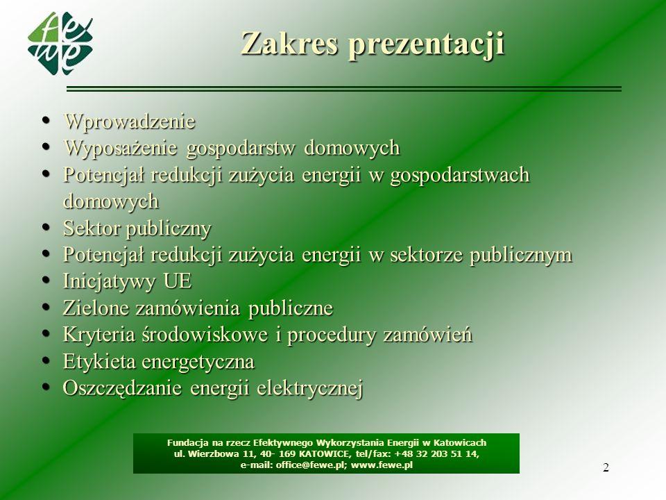 2 Zakres prezentacji Fundacja na rzecz Efektywnego Wykorzystania Energii w Katowicach ul. Wierzbowa 11, 40- 169 KATOWICE, tel/fax: +48 32 203 51 14, e