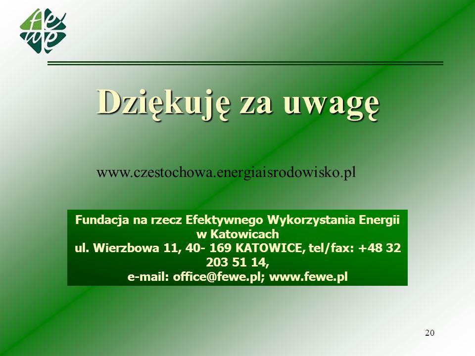 20 Fundacja na rzecz Efektywnego Wykorzystania Energii w Katowicach ul. Wierzbowa 11, 40- 169 KATOWICE, tel/fax: +48 32 203 51 14, e-mail: office@fewe