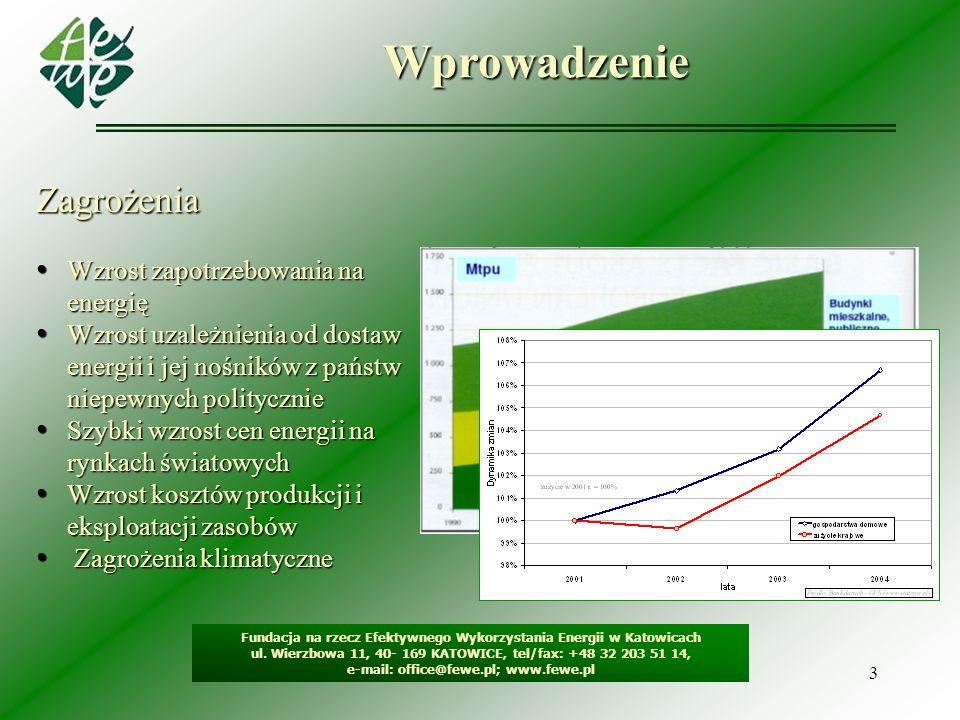 3Wprowadzenie Fundacja na rzecz Efektywnego Wykorzystania Energii w Katowicach ul. Wierzbowa 11, 40- 169 KATOWICE, tel/fax: +48 32 203 51 14, e-mail: