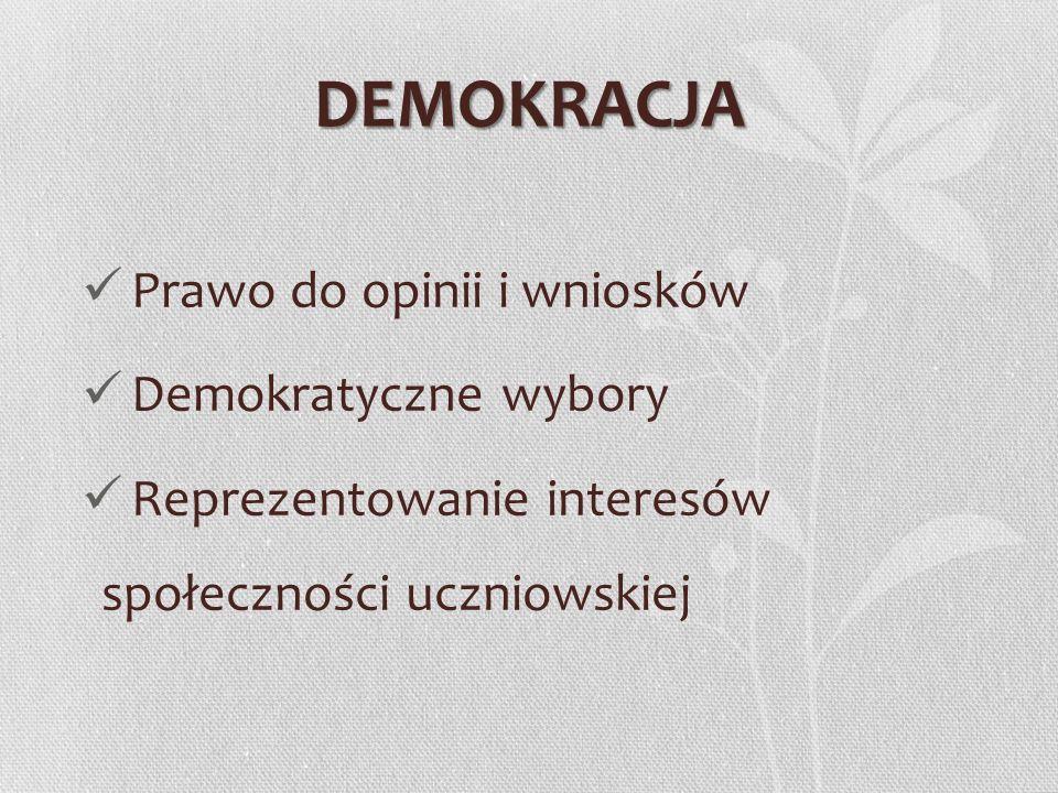 DEMOKRACJA Prawo do opinii i wniosków Demokratyczne wybory Reprezentowanie interesów społeczności uczniowskiej