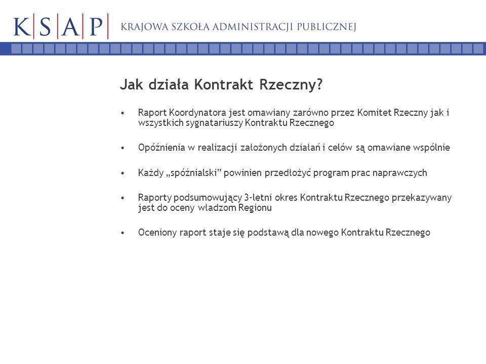 Jak działa Kontrakt Rzeczny? Raport Koordynatora jest omawiany zarówno przez Komitet Rzeczny jak i wszystkich sygnatariuszy Kontraktu Rzecznego Opóźni