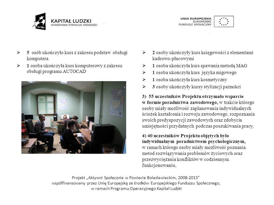 5 ) 30 uczestników Warsztatu Terapii Zajęciowej uczestniczyło w treningu kompetencji i umiejętności społecznych, zwiększających samodzielność życiową w/w osób oraz otrzymało wsparcie w formie poradnictwa psychologicznego, które przyczyniło się do wzrostu umiejętności interpersonalnych i komunikacyjnych, 6) 15 osób niepełnosprawnych uczestniczyło w grupie samopomocowej, wzmacniającej postawy aktywne, w tym rozwijające motywację do poszukiwania pracy oraz podwyższające aspiracje osobiste i zawodowe, 7) 14 osób niepełnosprawnych wzięło udział w turnusie rehabilitacyjnym, 8) 45 osób niepełnosprawnych, w tym 30 uczestników Warsztatu Terapii Zajęciowej, uczestniczyło w zajęciach rehabilitacyjnych lub ćwiczeniach usprawniających psychoruchowo, 9) wzmocnienie potencjału kadrowego PCPR, poprzez zatrudnienie dodatkowego pracownika socjalnego.