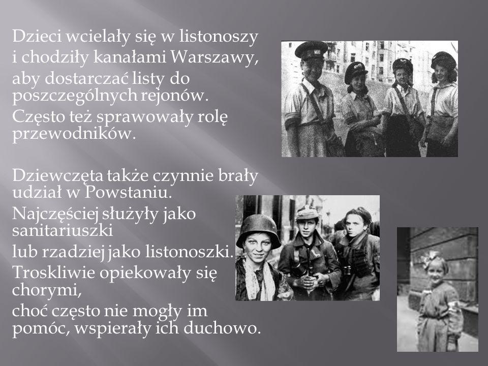 Dzieci wcielały się w listonoszy i chodziły kanałami Warszawy, aby dostarczać listy do poszczególnych rejonów. Często też sprawowały rolę przewodników