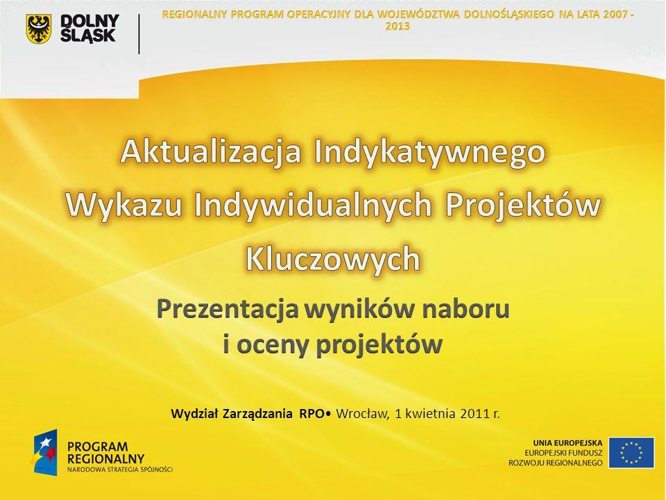 13 Propozycje projektów, które mogą zostać umieszczone na Indykatywnym Wykazie Indywidualnych Projektów Kluczowych dla Regionalnego Programu Operacyjnego Województwa Dolnośląskiego na lata 2007 – 2013 są dostępne na witrynie internetowej www.rpo.dolnyslask.pl w zakładce Projekty kluczowe.