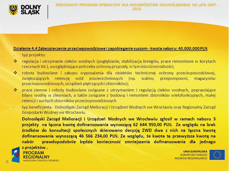 7 Działanie 4.5 Rekultywacja obszarów zdegradowanych - kwota naboru: 2.037.000 PLN typ projektu: rekultywacja obszarów zdegradowanych (w tym poprzemysłowych i powojskowych) polegająca na zagospodarowaniu tych terenów na cele przyrodnicze, rekreacyjno-wypoczynkowe lub gospodarki proekologicznej, z wyłączeniem przeznaczenia tych terenów na działalność komercyjną lub odpłatną; wyłącznie projekty o charakterze ponadlokalnym (obejmujące co najmniej dwa powiaty) -typ beneficjenta - jednostki sektora finansów publicznych W ramach działania zgłoszone zostały 2 projekty (Komendy Wojewódzkiej Policji we Wrocławiu oraz Miasta Jelenia Góra ) na łączna kwotę dofinansowania wynoszącą 3 906 790,37 PLN.