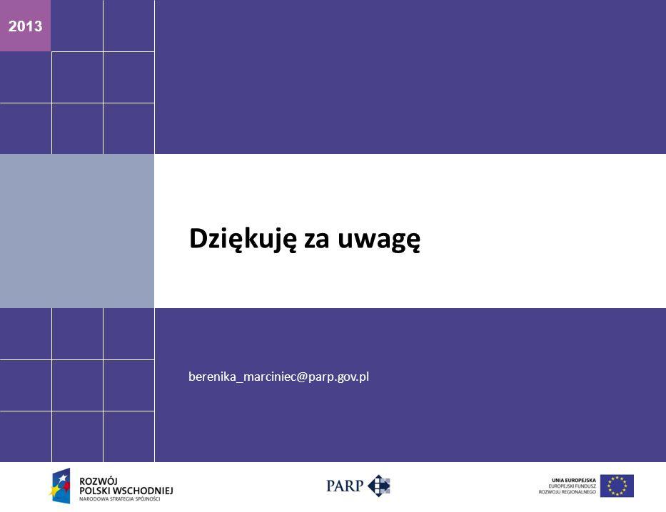 2013 berenika_marciniec@parp.gov.pl Dziękuję za uwagę
