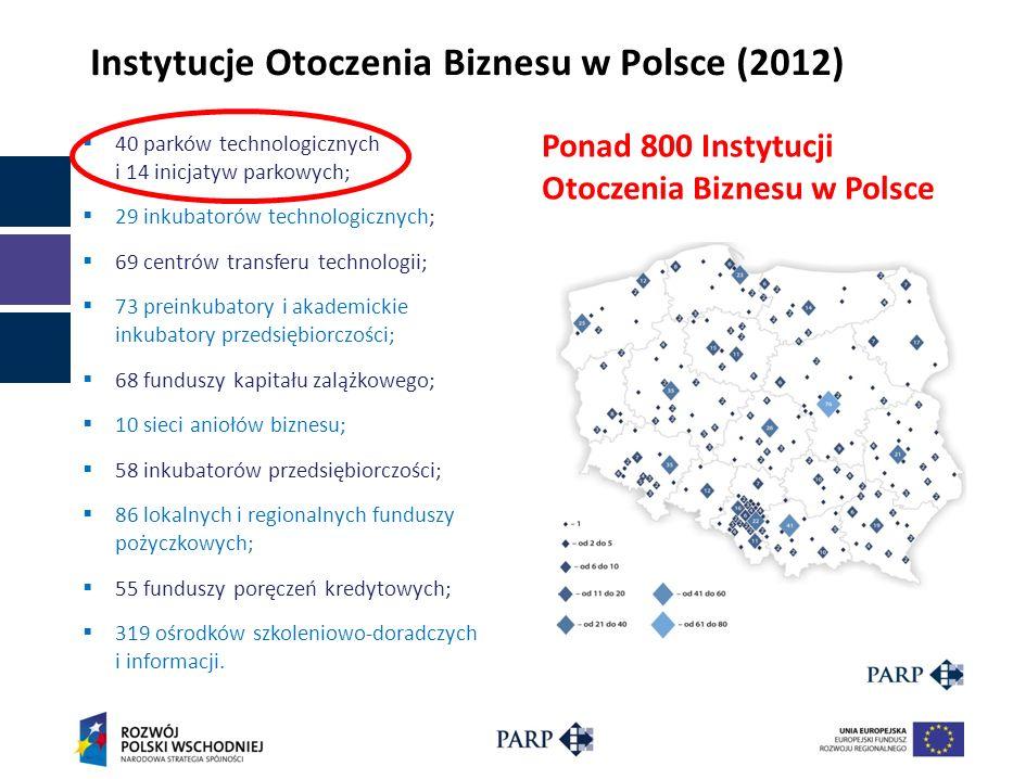 Instytucje Otoczenia Biznesu w Polsce (2012) 40 parków technologicznych i 14 inicjatyw parkowych; 29 inkubatorów technologicznych; 69 centrów transfer