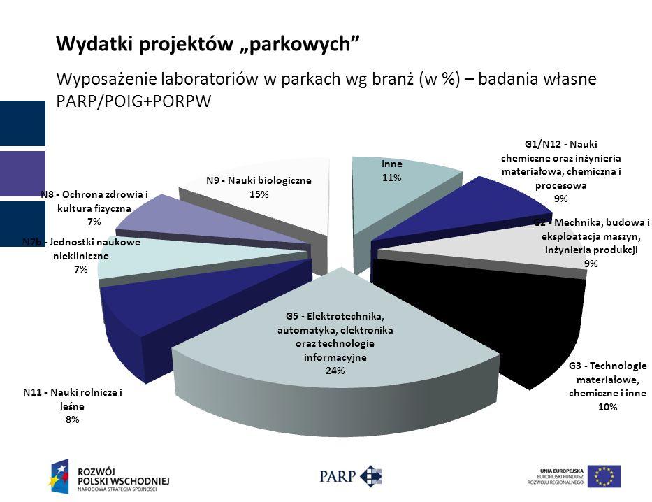 Wydatki projektów parkowych Wyposażenie laboratoriów w parkach wg branż (w %) – badania własne PARP/POIG+PORPW