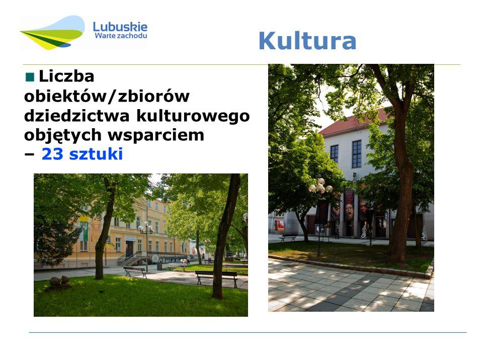 Kultura Liczba obiektów/zbiorów dziedzictwa kulturowego objętych wsparciem – 23 sztuki