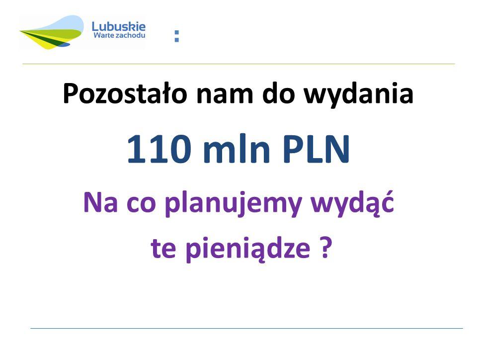 : Pozostało nam do wydania 110 mln PLN Na co planujemy wydąć te pieniądze ?