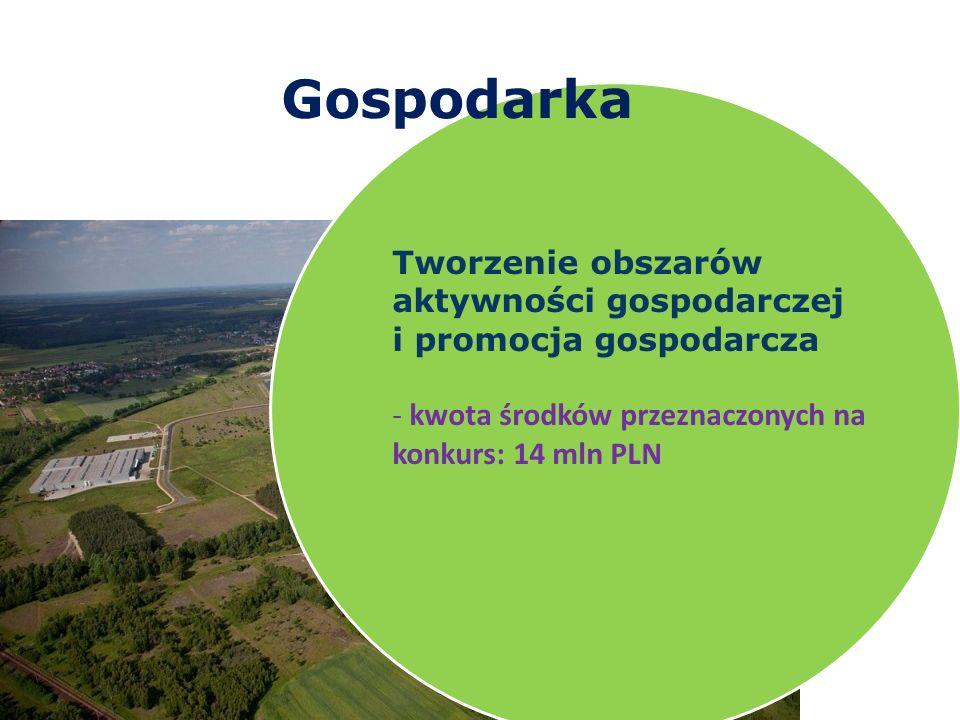 Gospodarka Tworzenie obszarów aktywności gospodarczej i promocja gospodarcza - kwota środków przeznaczonych na konkurs: 14 mln PLN