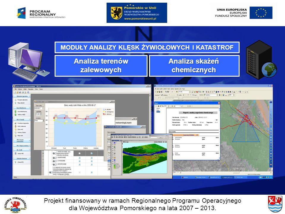 Projekt finansowany w ramach Regionalnego Programu Operacyjnego dla Województwa Pomorskiego na lata 2007 – 2013. MODUŁY ANALIZY KLĘSK ŻYWIOŁOWYCH I KA