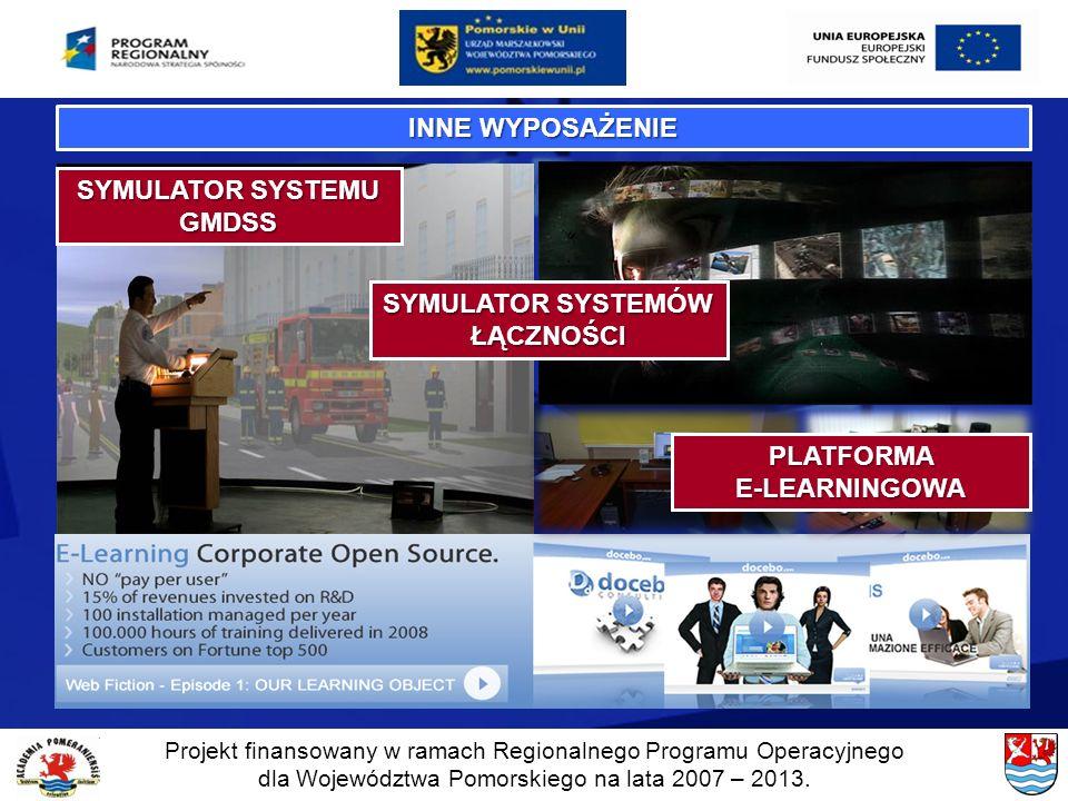 Projekt finansowany w ramach Regionalnego Programu Operacyjnego dla Województwa Pomorskiego na lata 2007 – 2013. INNE WYPOSAŻENIE SYMULATOR SYSTEMU GM