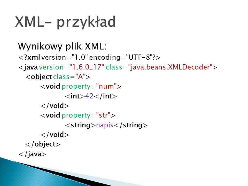 Wynikowy plik XML: 42 napis