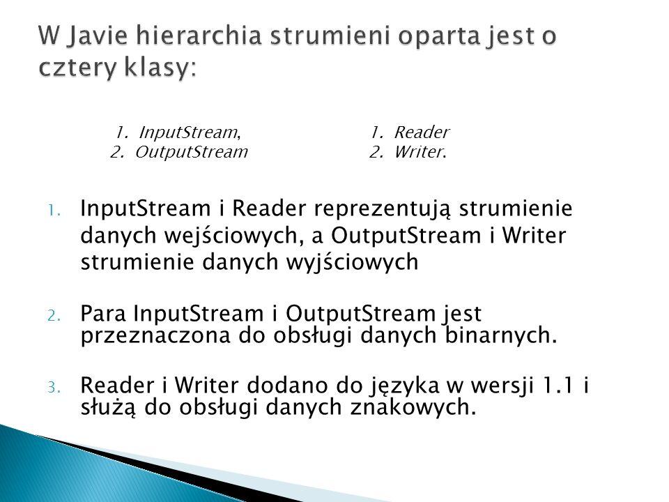 1. InputStream i Reader reprezentują strumienie danych wejściowych, a OutputStream i Writer strumienie danych wyjściowych 2. Para InputStream i Output