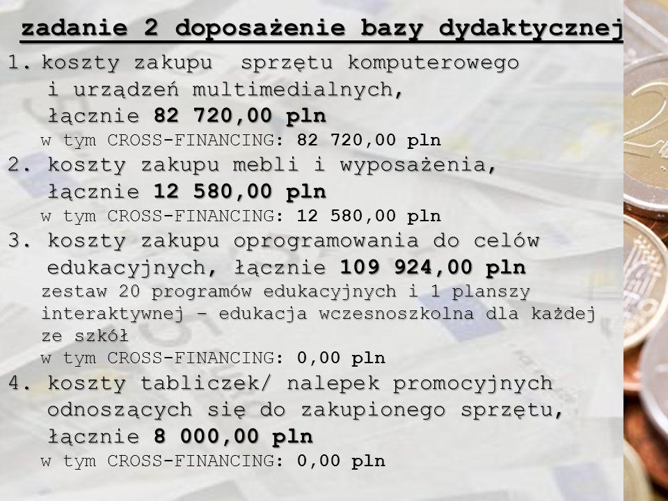 zadanie 2 doposażenie bazy dydaktycznej 1.koszty zakupu sprzętu komputerowego i urządzeń multimedialnych, i urządzeń multimedialnych, łącznie 82 720,00 pln łącznie 82 720,00 pln w tym CROSS-FINANCING: 82 720,00 pln 2.