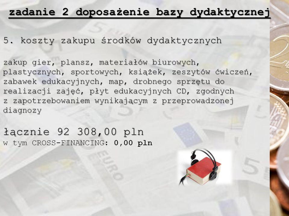 zadanie 2 doposażenie bazy dydaktycznej 5. koszty zakupu środków dydaktycznych zakup gier, plansz, materiałów biurowych, plastycznych, sportowych, ksi