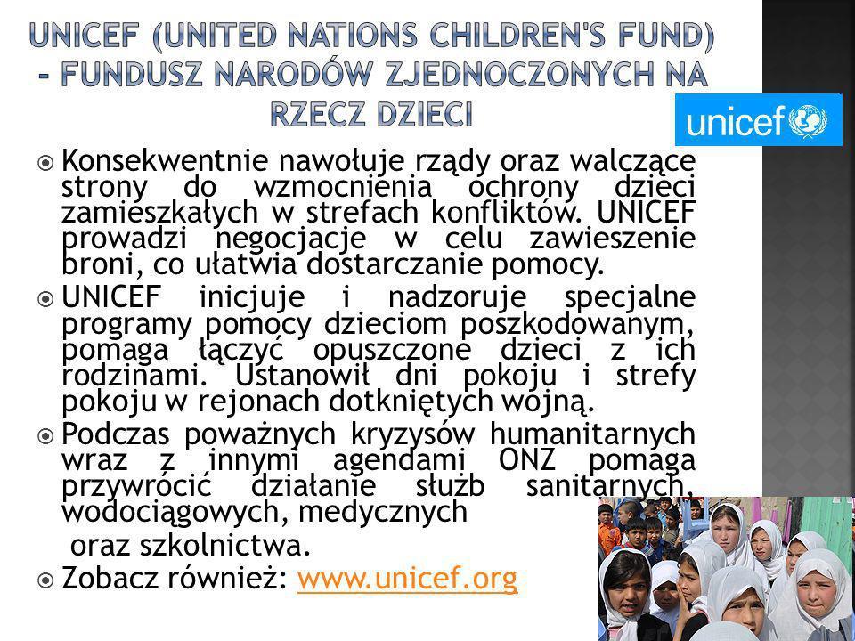 Konsekwentnie nawołuje rządy oraz walczące strony do wzmocnienia ochrony dzieci zamieszkałych w strefach konfliktów. UNICEF prowadzi negocjacje w celu