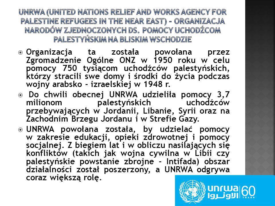 Organizacja ta została powołana przez Zgromadzenie Ogólne ONZ w 1950 roku w celu pomocy 750 tysiącom uchodźców palestyńskich, którzy stracili swe domy