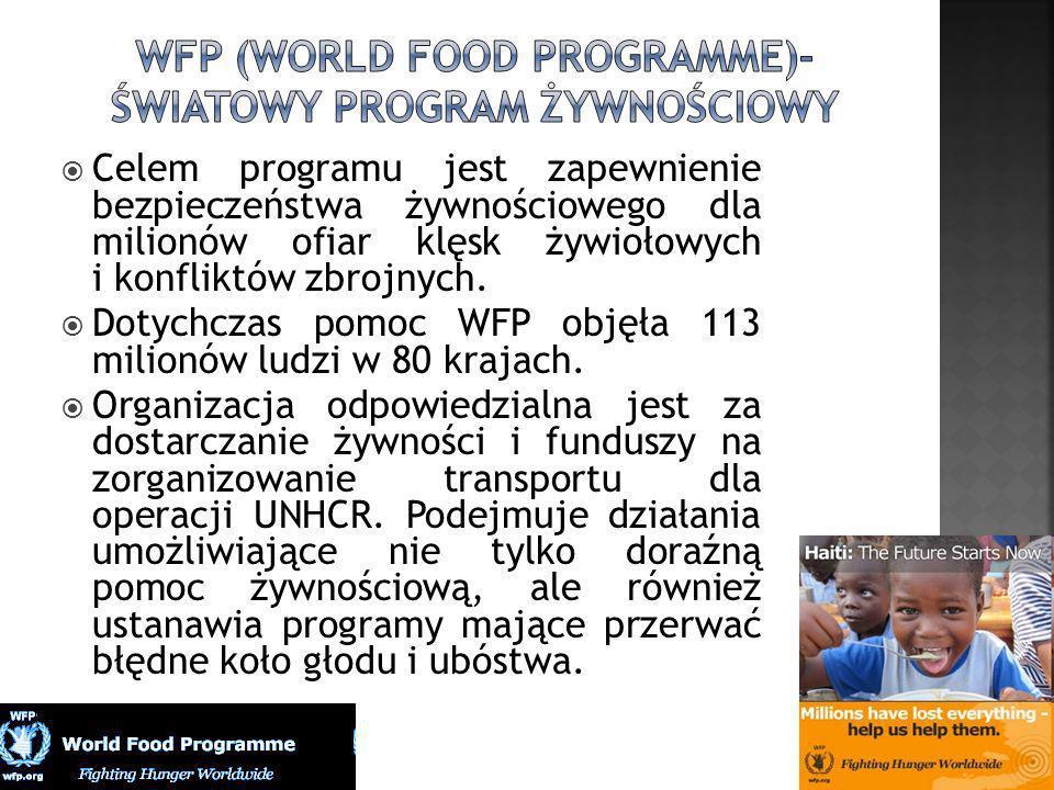 Celem programu jest zapewnienie bezpieczeństwa żywnościowego dla milionów ofiar klęsk żywiołowych i konfliktów zbrojnych. Dotychczas pomoc WFP objęła