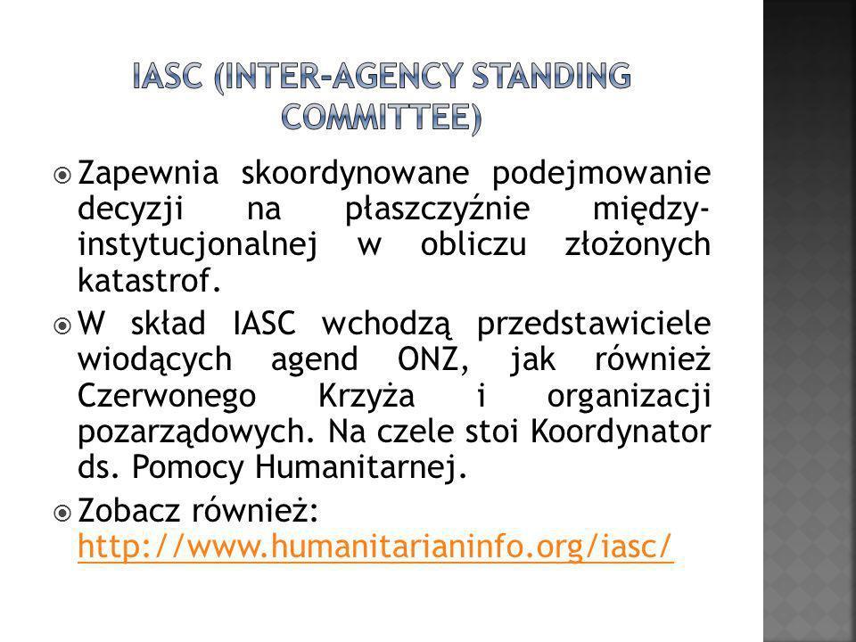 Zapewnia skoordynowane podejmowanie decyzji na płaszczyźnie między- instytucjonalnej w obliczu złożonych katastrof. W skład IASC wchodzą przedstawicie