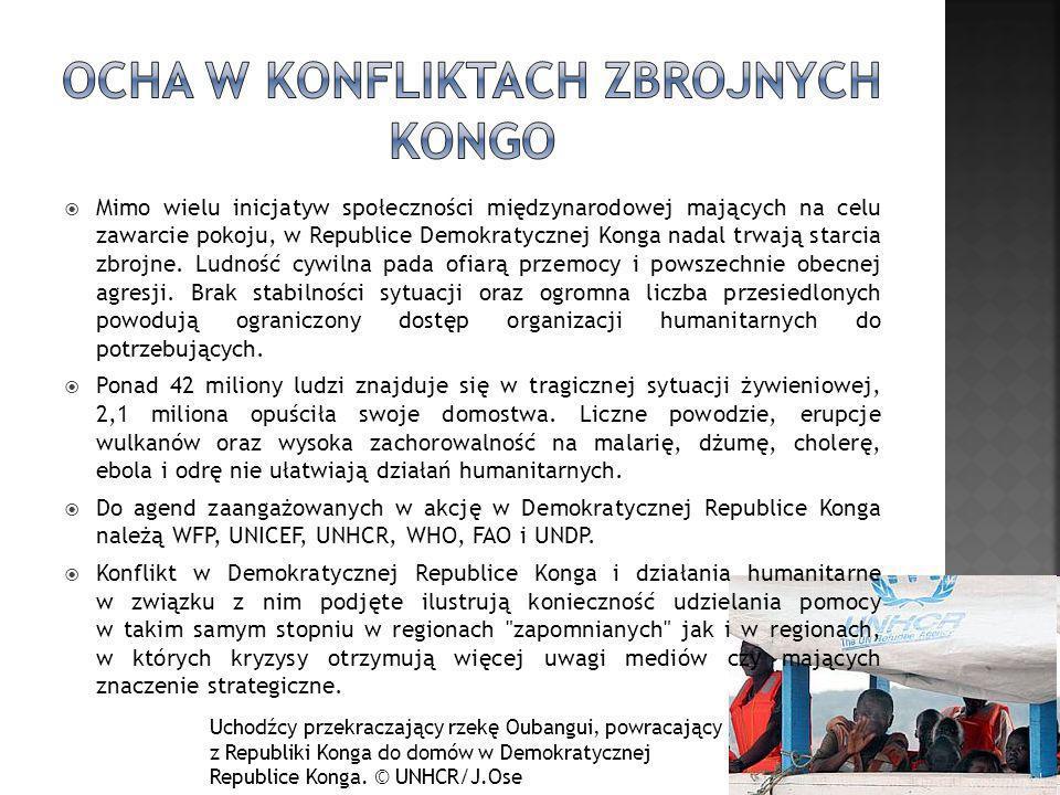 Mimo wielu inicjatyw społeczności międzynarodowej mających na celu zawarcie pokoju, w Republice Demokratycznej Konga nadal trwają starcia zbrojne. Lud
