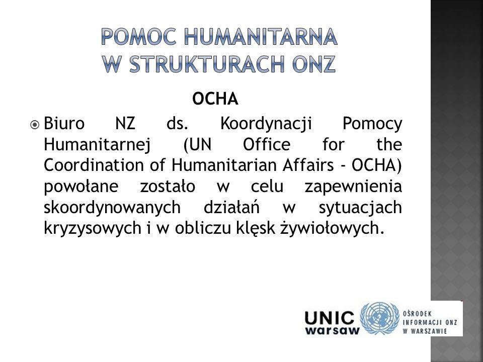 OCHA Biuro NZ ds. Koordynacji Pomocy Humanitarnej (UN Office for the Coordination of Humanitarian Affairs - OCHA) powołane zostało w celu zapewnienia